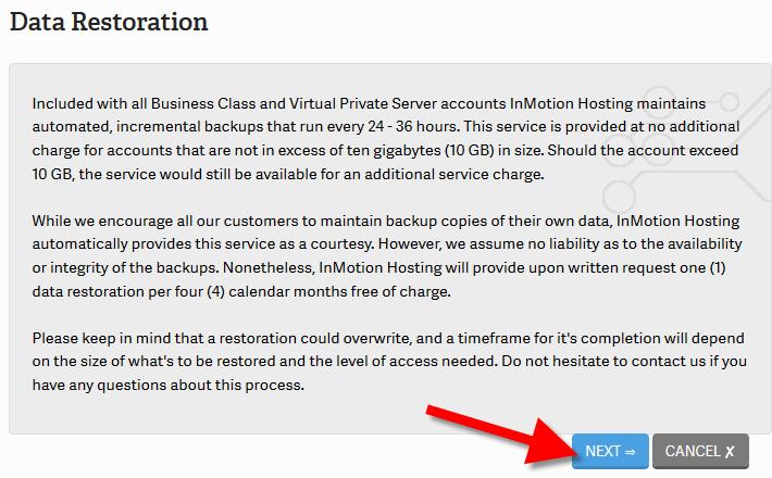 click on data restore