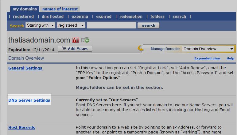 domains change nameservers enom 4 click on dns server settings