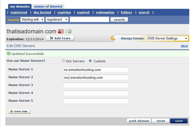 domains change nameservers enom 6 update successful