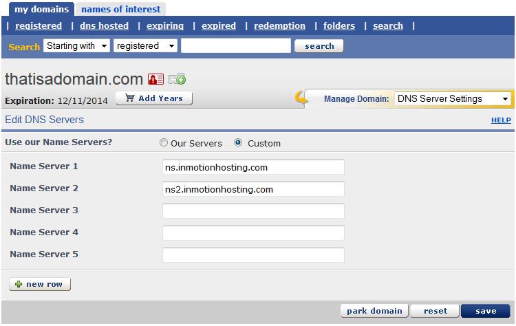 domains change nameservers enom 7 enter nameservers