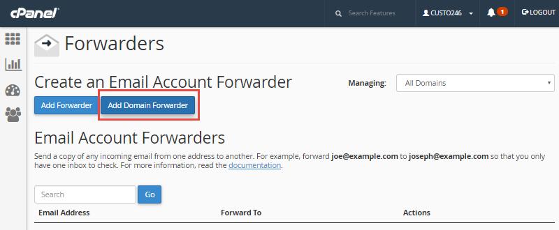 forwarding domain in cpanel