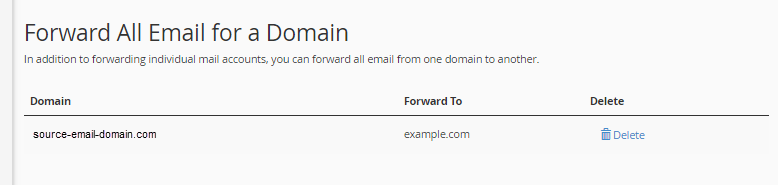domain forwarder successfully created in cpanel