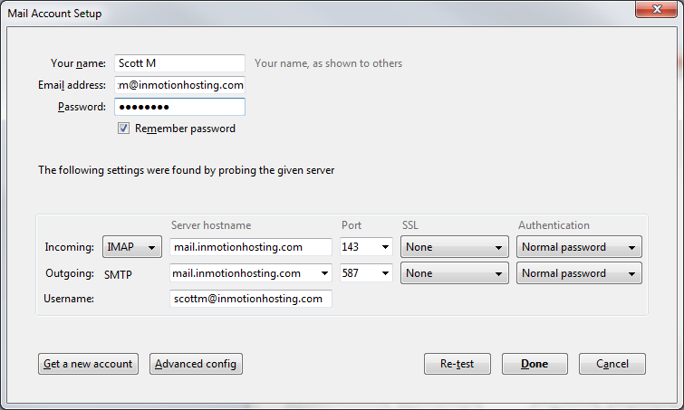 Checking an Email Account in Thunderbird | InMotion Hosting