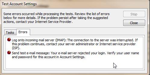 Outlook 2010: Server Rejected your Login | InMotion Hosting Support
