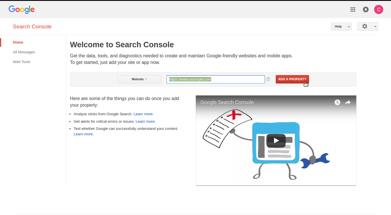 google search console add property to gsc