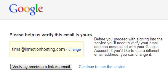 Verify Google Analytics account