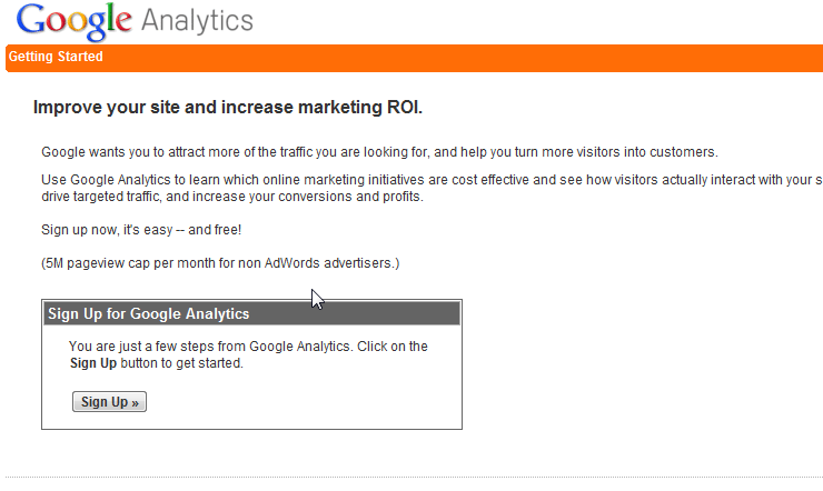 Sign up button for google analytics