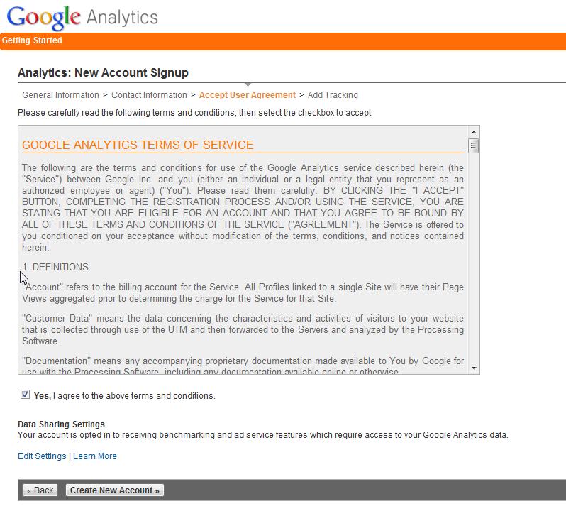 Agree to Google Analytics terms