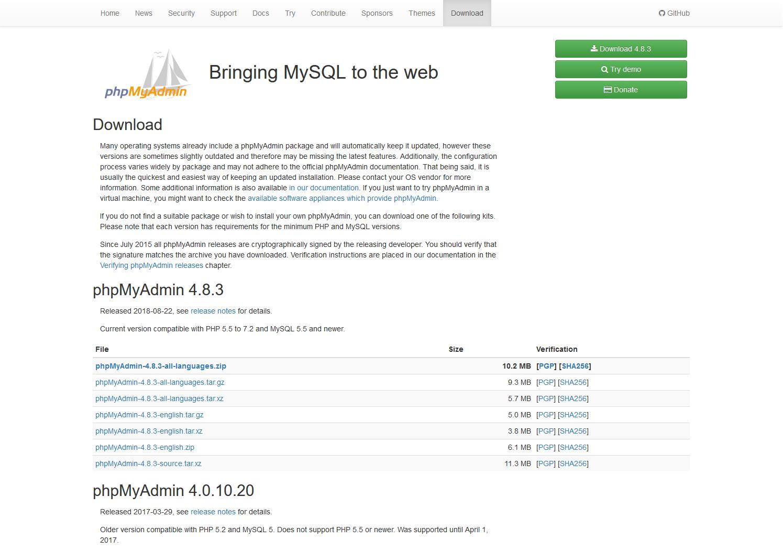 phpmyadmin.net website