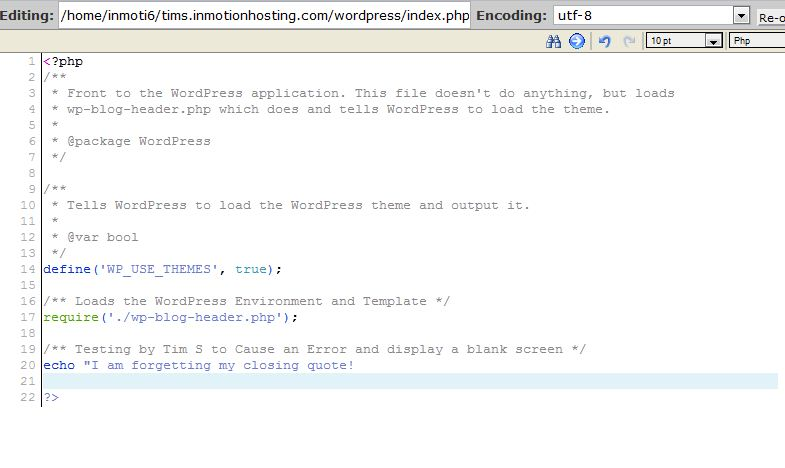 Breaking the WordPress code