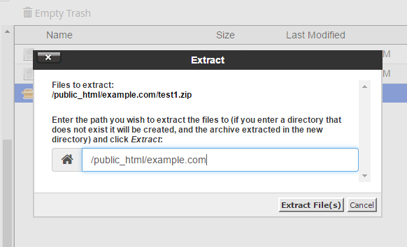 Select the path you will extract to