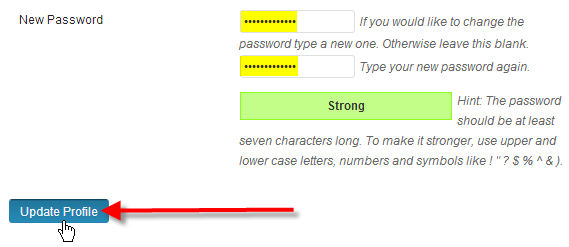 wordpress fill out password click update profile