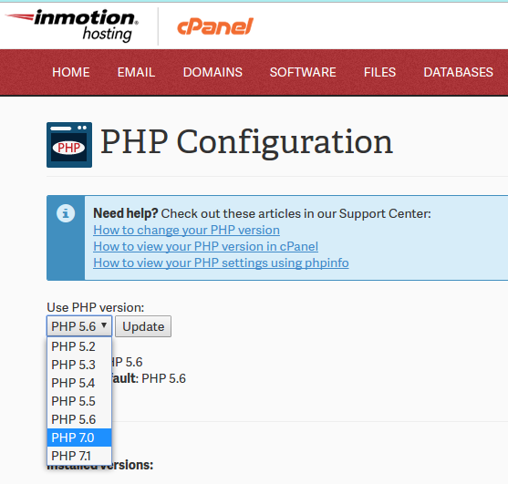 Changing your PHP Version in cPanel | InMotion Hosting Support Center