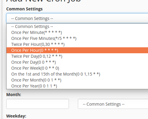 select once an hour from common settings