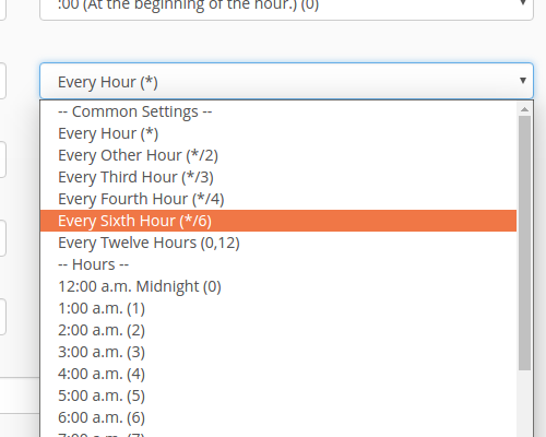 select every 6 hours from hour field