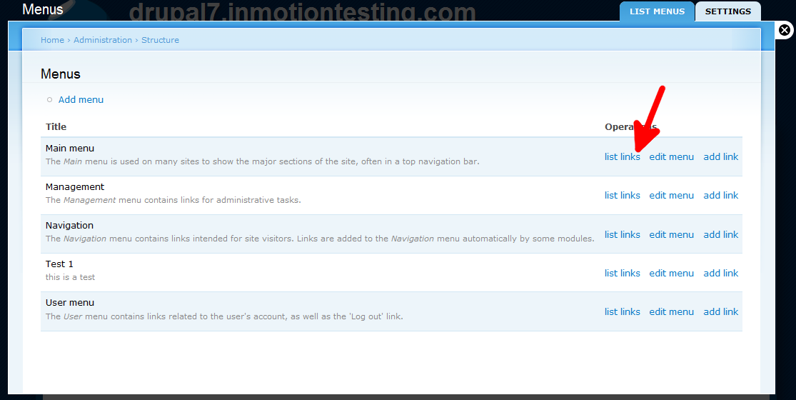 Rearranging menu links in Drupal 7   InMotion Hosting