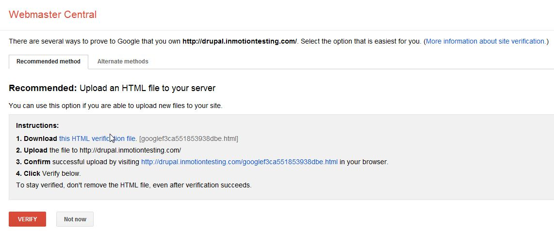 Verifying your website with Google | InMotion Hosting
