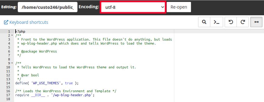 Website Character Encoding - Drop-down menu