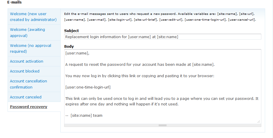 How to modify the Password Recovery email text in Drupal 7