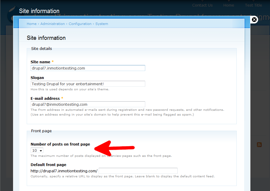 configuration-system-site-info-posts-front-page