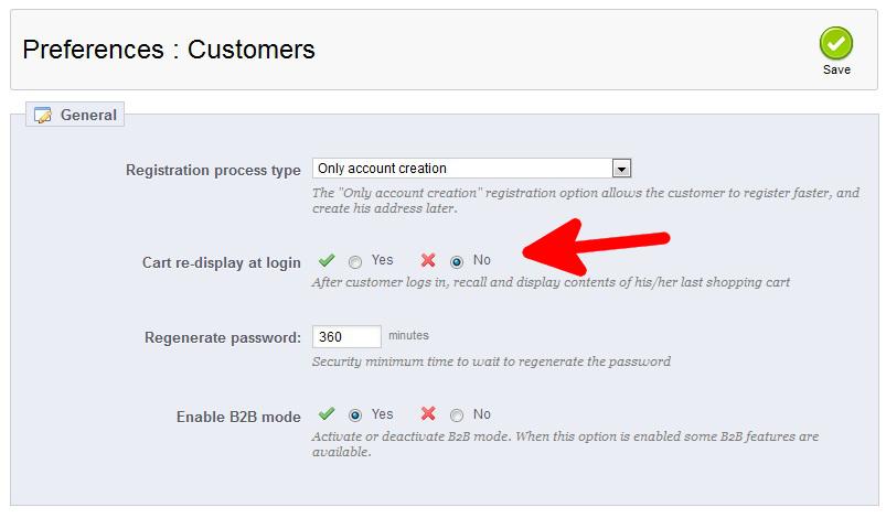 preferences-customers-cart-redisplay