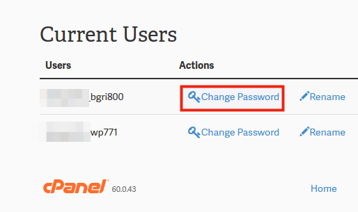 change user password
