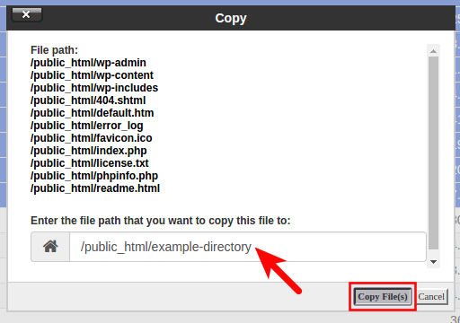 Change destination file path