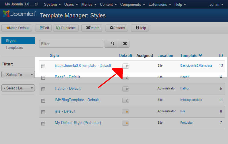 How to change your Joomla 3 1 Site Template | InMotion