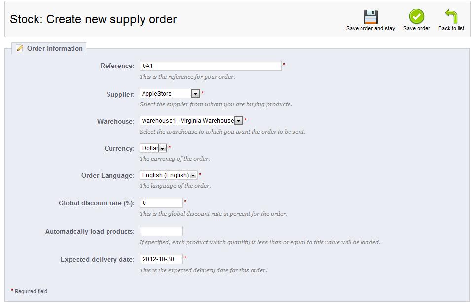 create supply order