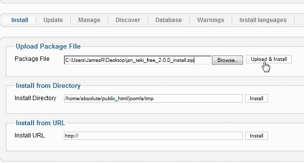 upload the theme Joomla 3.0