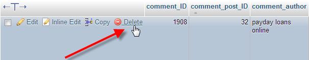 wp-comments-delete-single-entry
