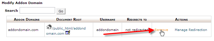 cpanel-addon-domain-remove
