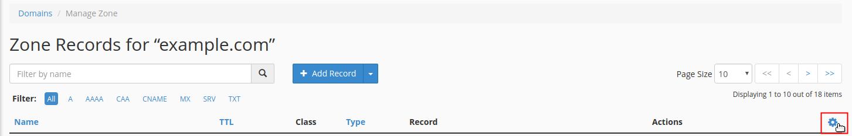 Click cog button drop-down menu