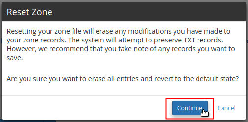 Read warning and click Continue button to reset zone