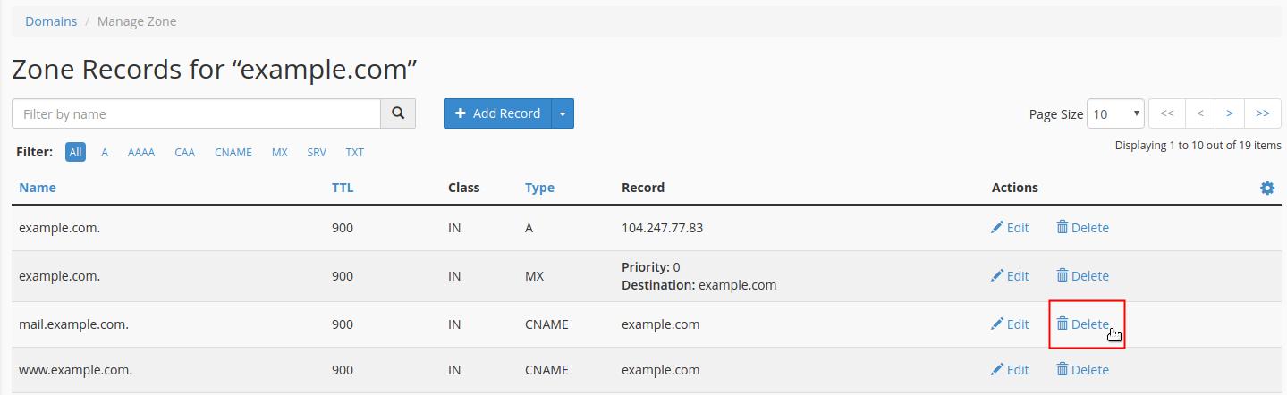 Click Delete link next to domain record to delete