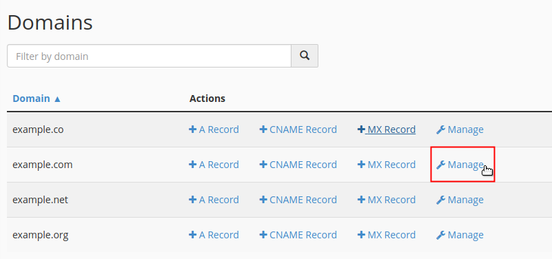 Click Manage link next to domain
