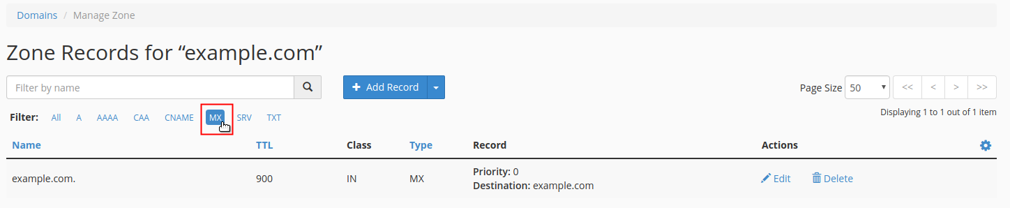 Click record type to display filter