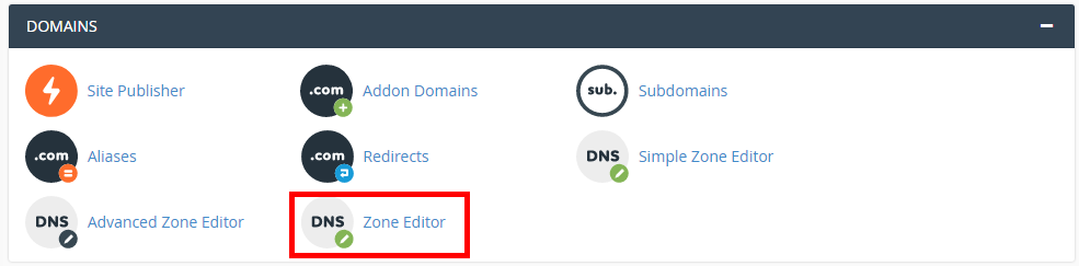 click on advanced dns zone editor