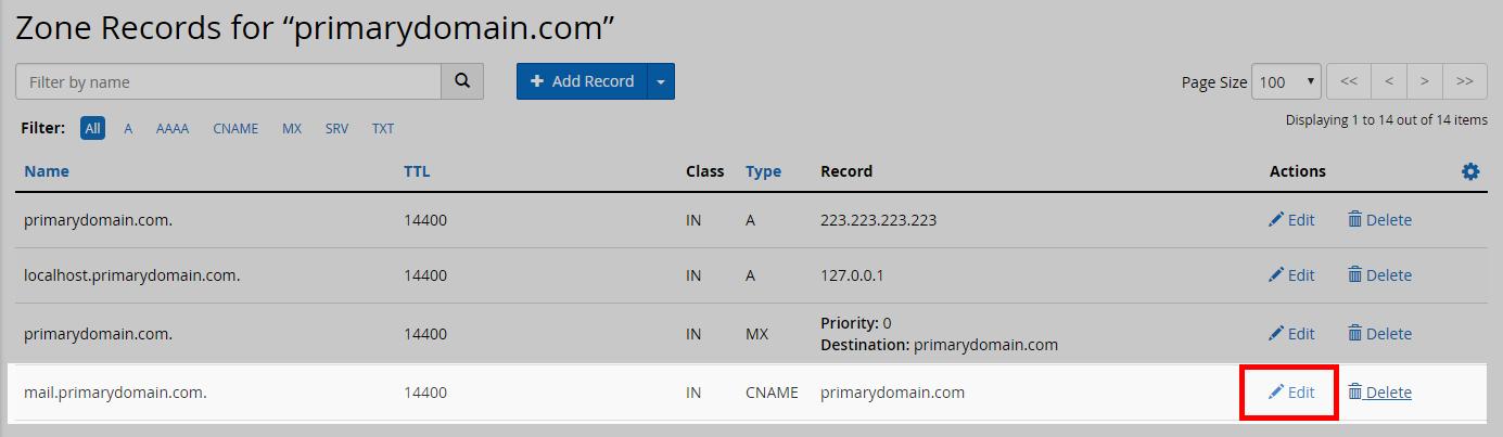 delete mail cname record