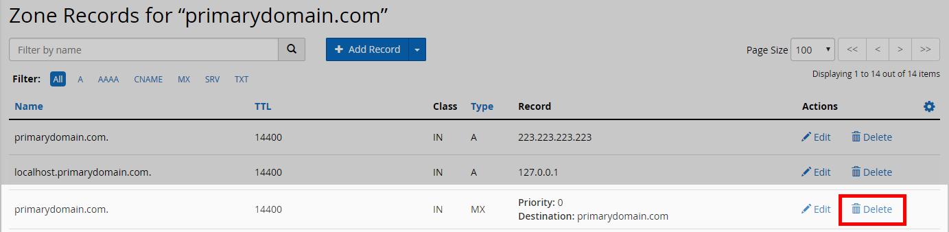 click on delete for MX record