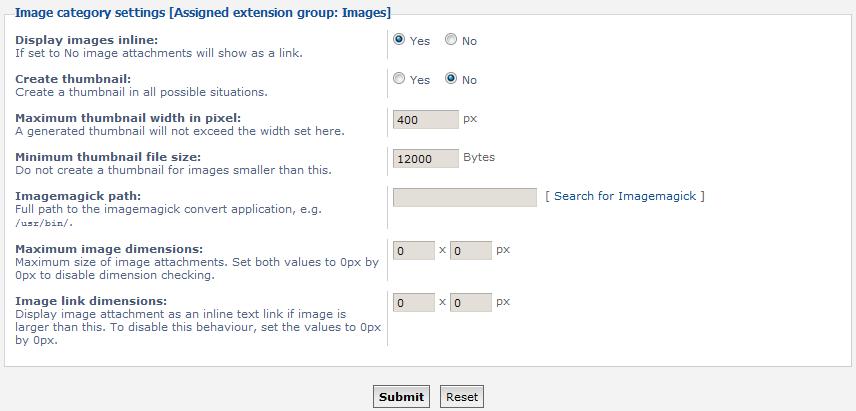 image settings list