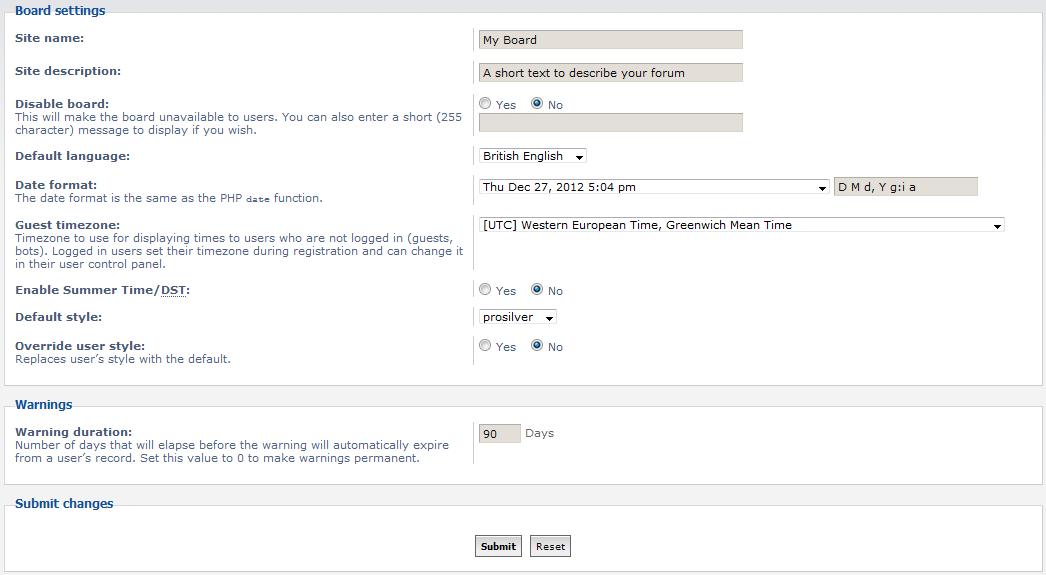 board settings list