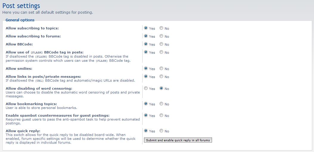 list of post setting options