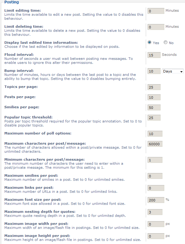 post settings parameters list