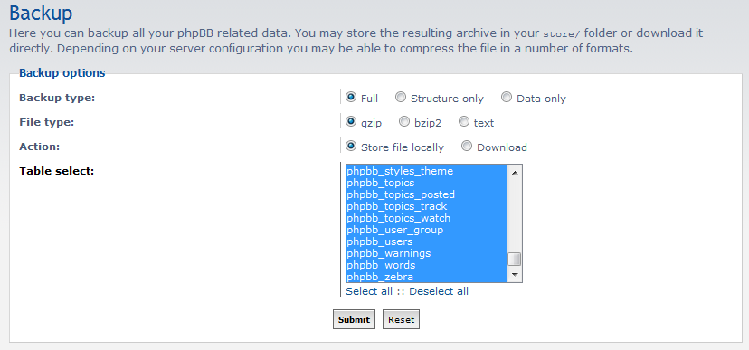 database backup settings