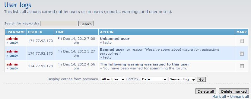 list of user log entries