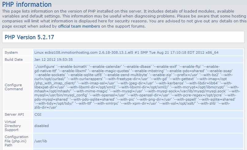 php configuration list