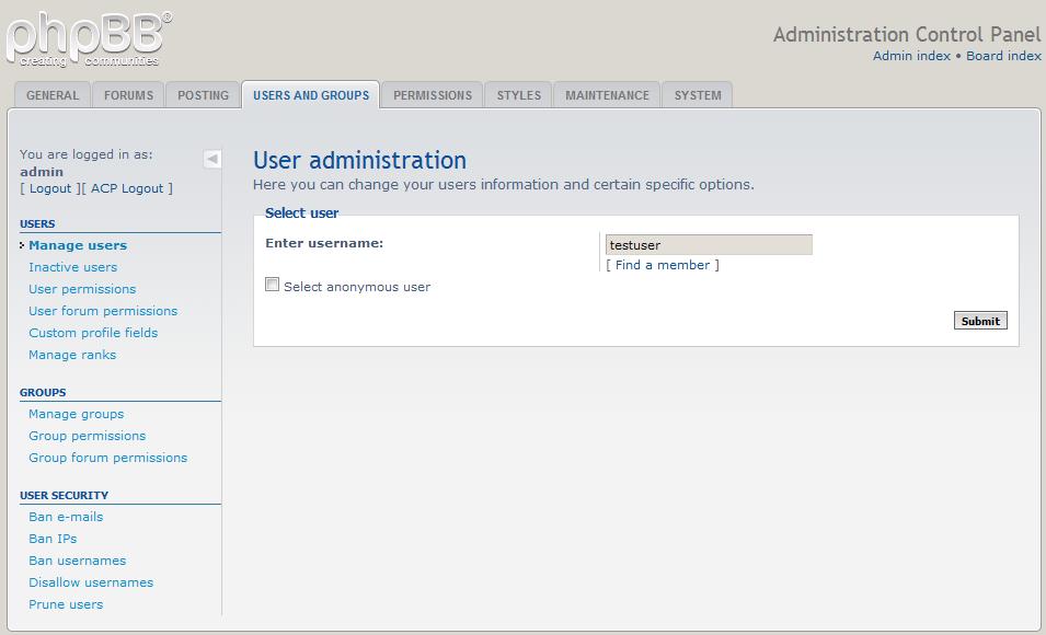 user search box
