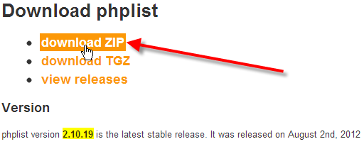 click-on-download-zip-link-on-phplist-site