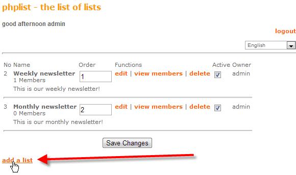 click on add a list
